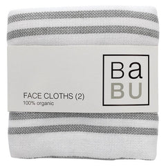 Babu - Muslin Terry Face cloths (2pk) - Grey Stripe