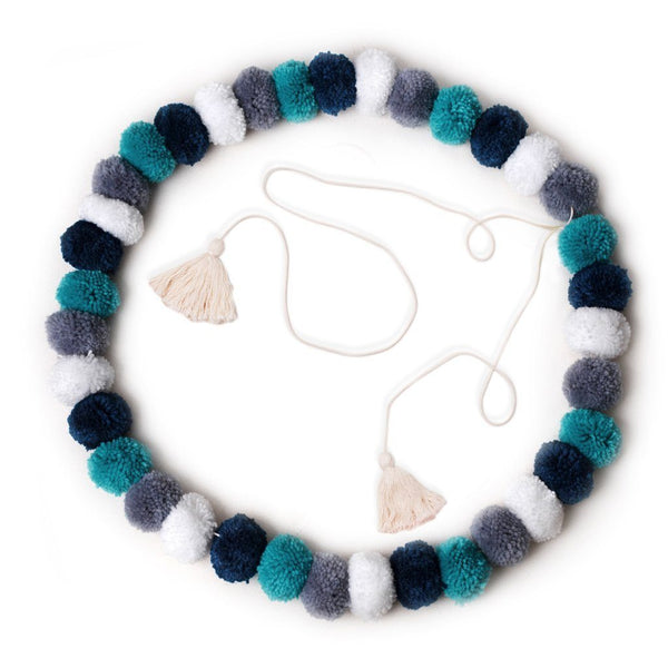 OB Designs - Handmade Pom Pom Garland - Confetti Blue - Eco Child
