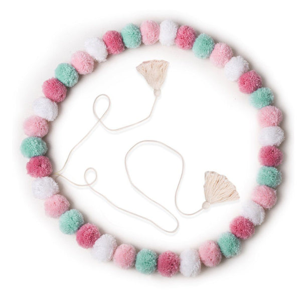 OB Designs - Handmade Pom Pom Garland - Confetti PInk - Eco Child