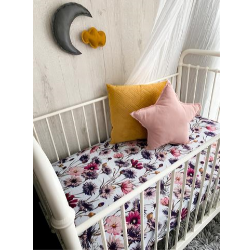 Pop Ya Tot - All About Aster Muslin - Cot Sheet - Eco Child