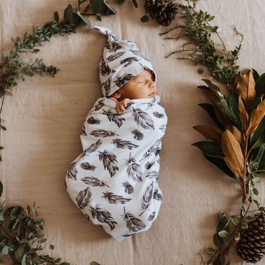 Snuggle Hunny Kids - Quill Snuggle Swaddle & Beanie Set - Eco Child
