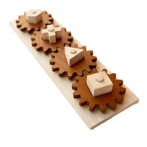 Qtoys -  Natural Wooden Gear Shape Puzzle - Eco Child