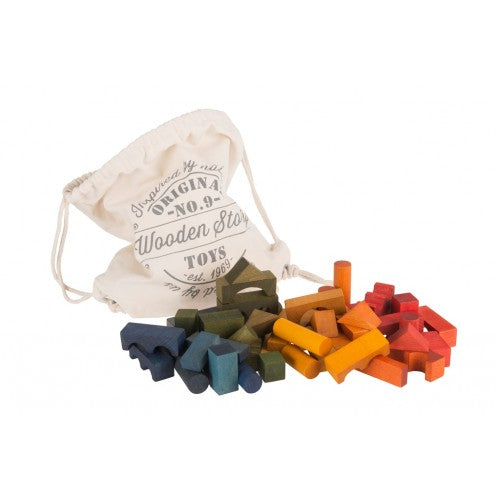Wooden Story - Rainbow Blocks in Cotton Sack - 100 pieces
