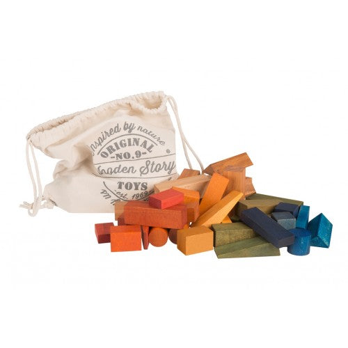Wooden Story - Rainbow Blocks XL in Cotton Sack - 50 pieces