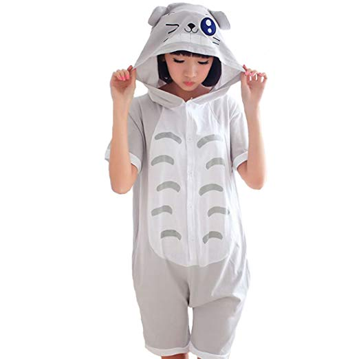 Grey Cat Short Sleeve Onesie for Adults