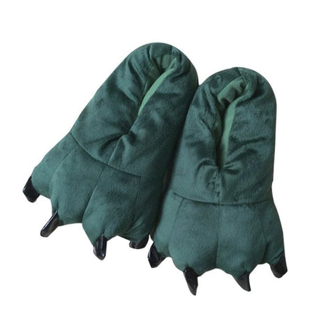 Green - Plush Claw Animal Slippers