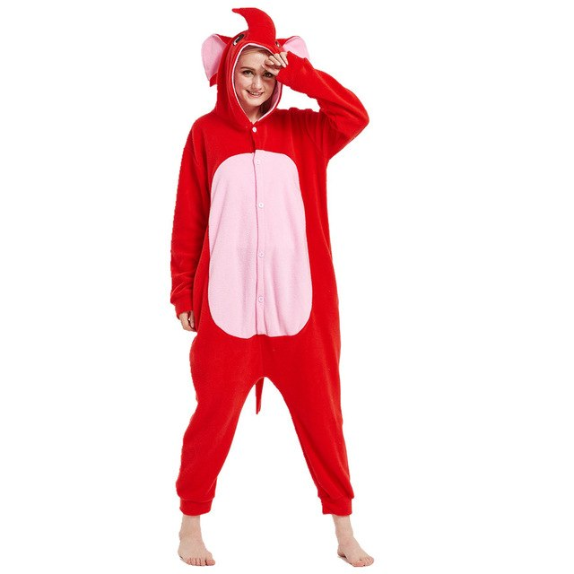 Red Elephant Onesie for Adults