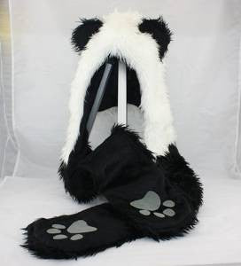 Panda Animal Hood Faux Fur Hat with Warm Scarf Mittens Ears and Paws Spirit - Unicorn Onesies