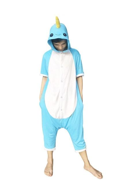 Blue Narwhal Short Sleeve Onesie for Adults