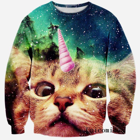 Cat Unicorn 3D Printed Sweatshirt