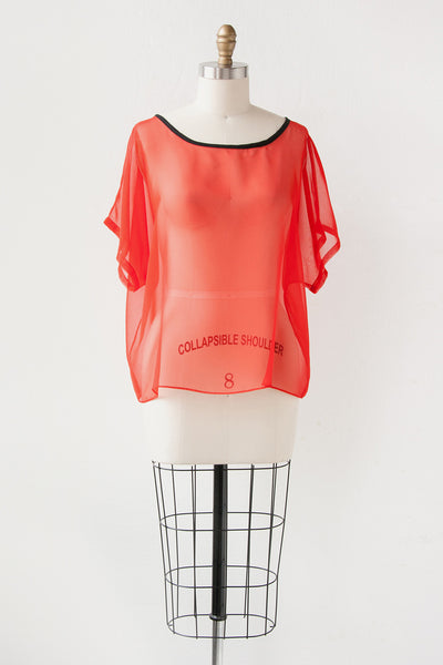 Mod Top in Sheer Red/Orange + Black