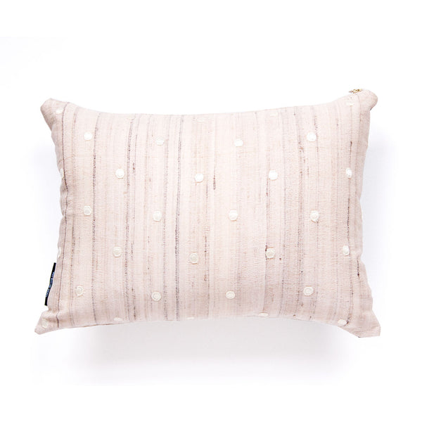 Raw Silk + Vegan Leather Solid Pillow (Last One!)