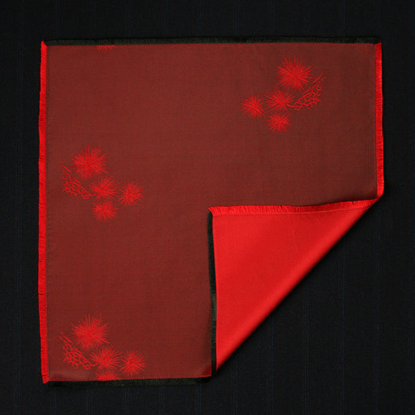 Pocket Square - Crimson Spruce Silk (Double Sided)