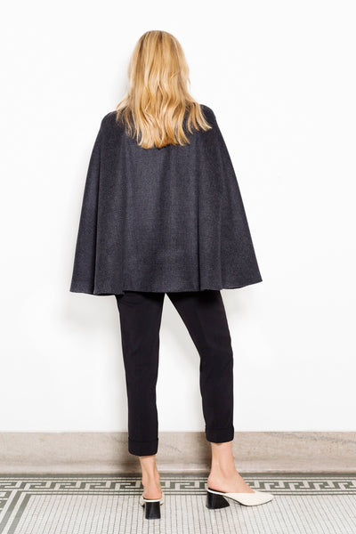 Cape Jacket in Charcoal Plaid Wool with Leather Trim