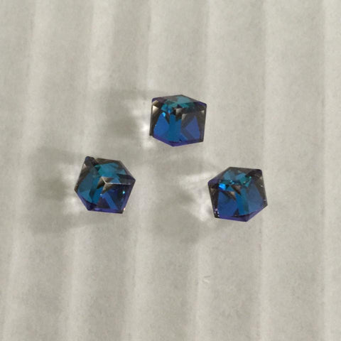 Swarovski Elements Angled Cube in Crystal Bermuda Blue