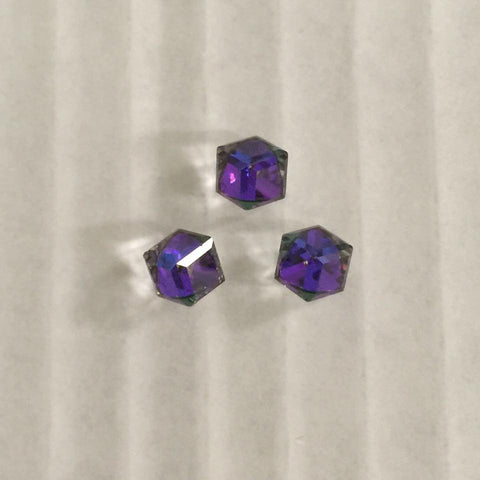 Swarovski Elements Angled Cube in Crystal Heliotrope