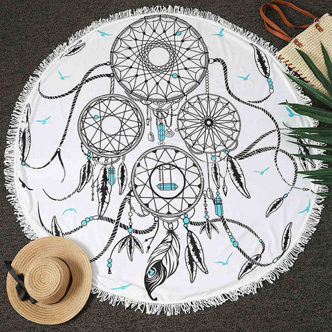 Round Dream Catcher Beach Towel 150CM Wall Hanging Tapestry Yoga Mat Throw Bedspread Home Bedroom Floor Decor Textiles Doormat