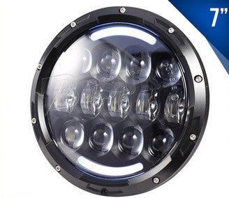 "7"" ROUND HEADLIGHT WITH HALO AND SIGNAL 11000 LUMENS DOT"