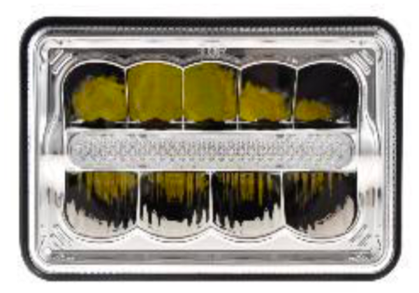 "DOT/SAE 4""X6"" HEADLIGHTS - CHROME BEZEL - DRL CENTER - H/L"