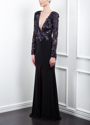 Sequin Floral Plunge Long Sleeve Jersey Gown