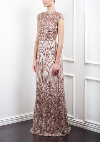 Geo Sequin Shoulders Gown