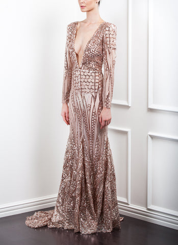 SOLD OUT Geo Sequin Plunge Gown