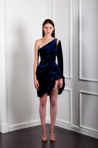 AE917 VELVET ONE SHOULDER SCULPTURED DRESS