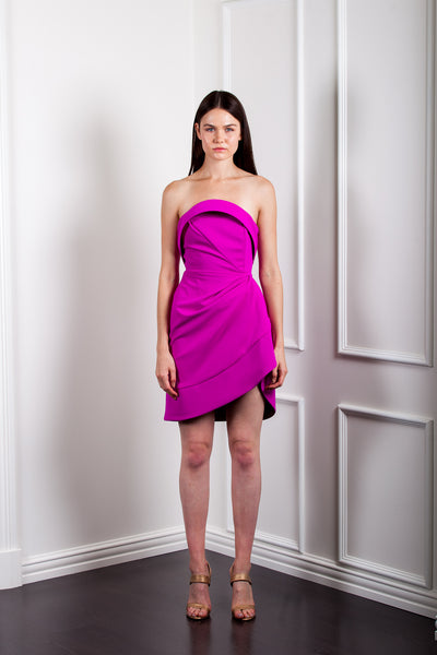 AE946 SCULPTURED MINI STRAPLESS DRESS