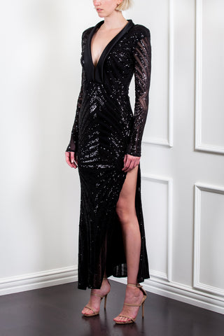 Deco Tuxedo Sequin Dress
