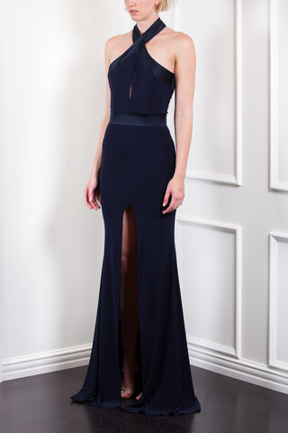 Satin Panel Halter Gown