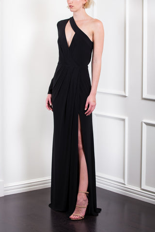Asymmetrical Wrap Gown