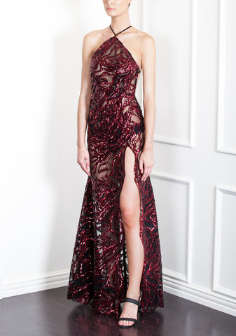 SOLD OUT TIGER SEQUIN HALTER GOWN
