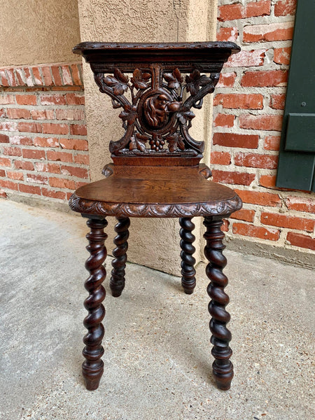 19th century French Carved Oak Black Forest Hunt Dog Side Chair Barley Twist