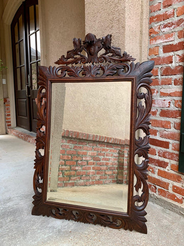 Antique French Carved Oak Frame Beveled Mirror Wall Mantel Louis XIV Renaissance
