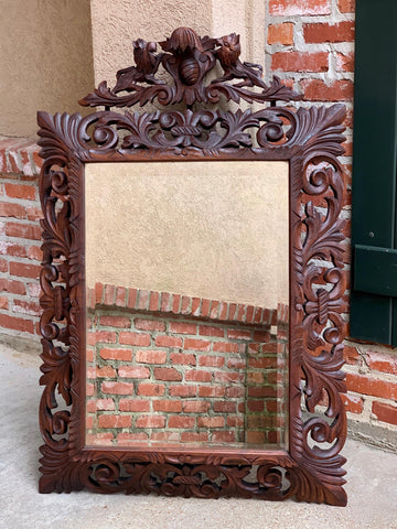 Antique French Carved Oak Frame Beveled Mirror Wall PIER Mantel Renaissance
