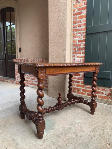Antique French Oak Sofa Table Writing Desk Barley Twist Louis XIII Style