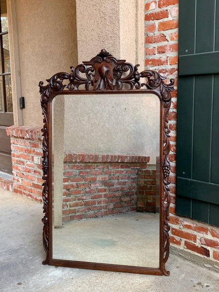 19th century Antique French Carved Oak Pier Mantel Mirror Renaissance Louis XIV