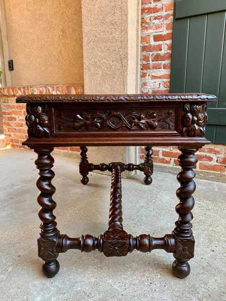 19th century French Carved Oak Sofa Table Writing Desk Barley Twist Black Forest
