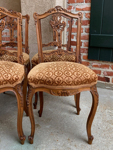 Set 4 Antique French Petite Chair Carved Walnut Louis XV style Accent Vanity