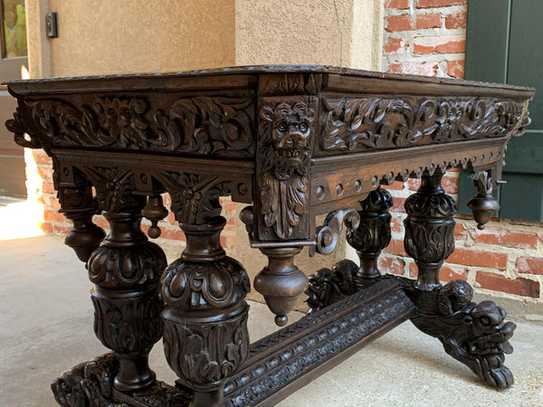 19th century French Carved Oak Side Table Small Writing Desk Renaissance Gothic