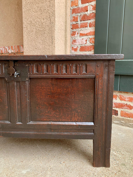 18th century English Carved Oak Coffer Trunk Chest Coffee Table Blanket Box