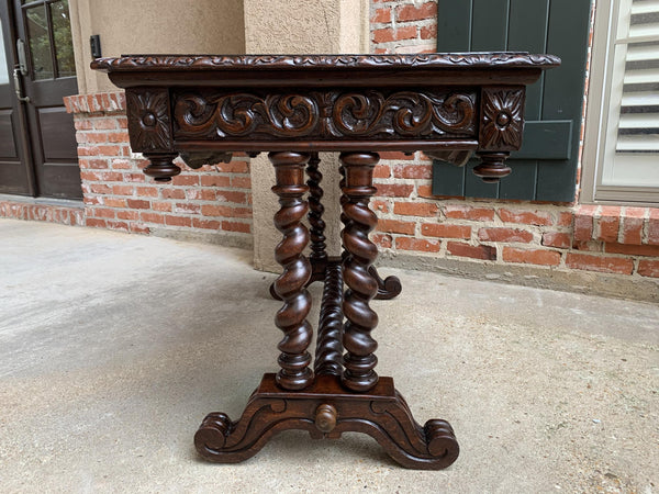19th century French Oak Office Library Desk Sofa Table Barley Twist Louis XIII