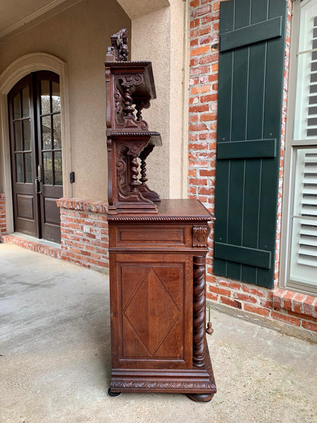 19th century French Hunt Cabinet Bookcase Black Forest Carved Oak Barley Twist