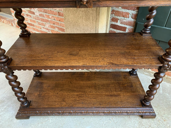 19th century French Carved Oak Hunt Server Sideboard Barley Twist Renaissance