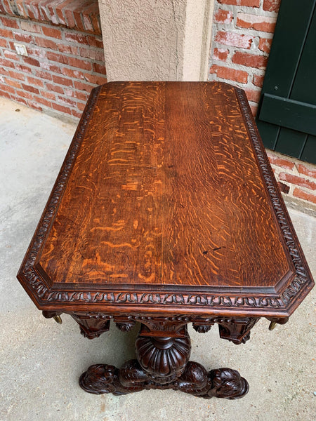 19th century French Carved Oak Dolphin Library Table Desk Renaissance Gothic