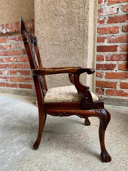 Antique French Carved Mahogany Doll Child's Chair Louis XV Style 20th century