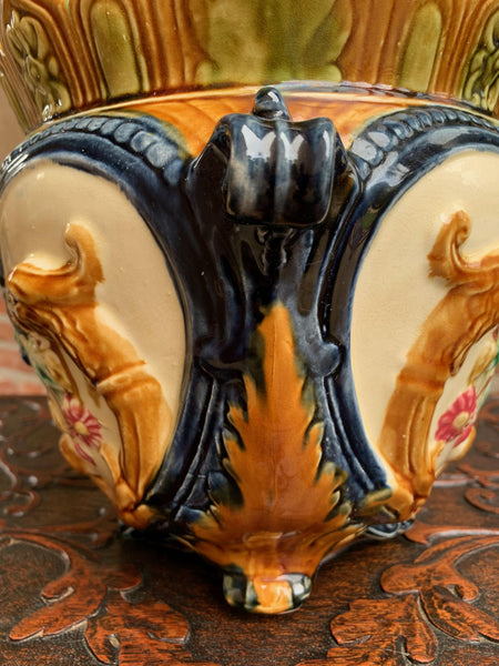 19th century French Majolica Cache Pot Planter Jardinière Lion Onnaing Barbotine