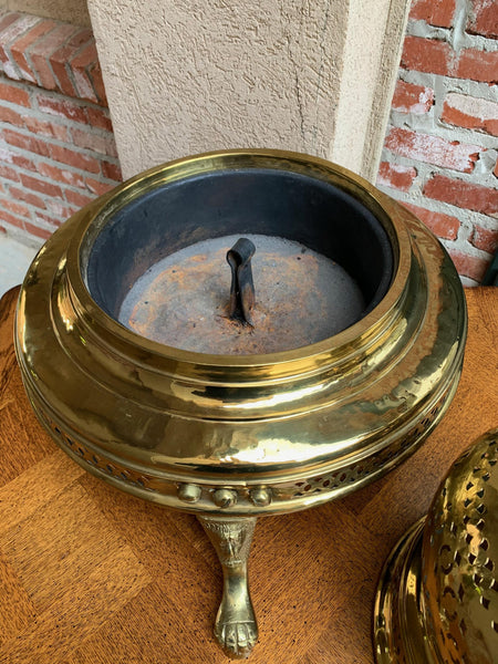 Vintage French Polished Brass Bell Brazier Heater Fire Pit Incense