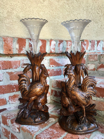 PAIR Antique Carved Wood BLACK FOREST Bird Chicken Vase Epergne Candleholder