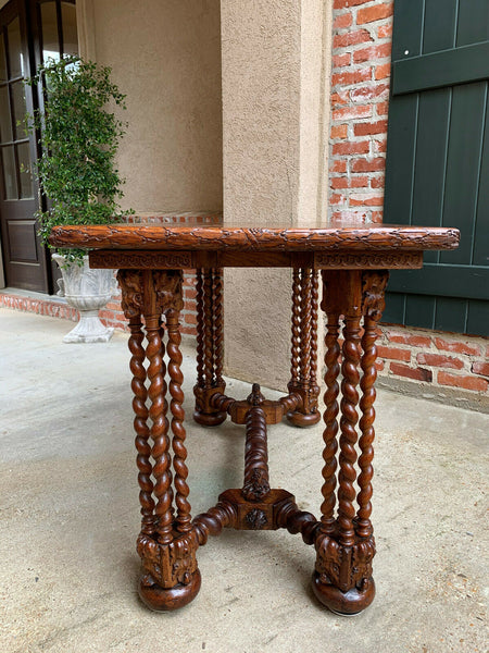 Antique French Carved Oak Barley Twist Hall Sofa TABLE Corinthian Renaissance